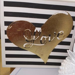 White/ gold tone love wall accents